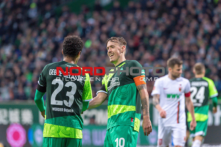 10.02.2019, Weser Stadion, Bremen, GER, 1.FBL, Werder Bremen vs FC Augsburg, <br /> <br /> DFL REGULATIONS PROHIBIT ANY USE OF PHOTOGRAPHS AS IMAGE SEQUENCES AND/OR QUASI-VIDEO.<br /> <br />  im Bild<br /> <br /> Theodor Gebre Selassie (Werder Bremen #23)<br /> Max Kruse (Werder Bremen #10)<br /> <br /> Foto © nordphoto / Kokenge