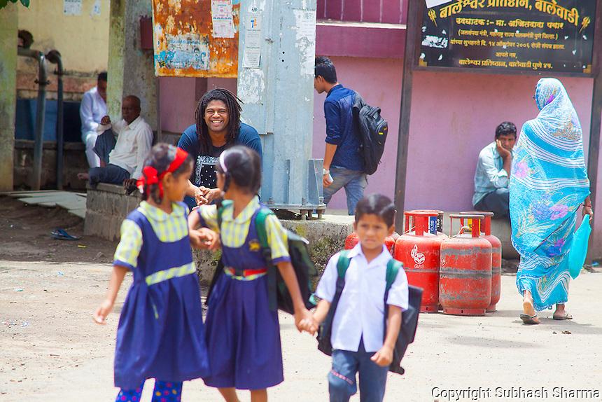 14 July 2016 - Pune - INDIA.<br /> Jamal Idris explores the streets of Balewadi village at Pune.<br /> <br /> (Subhash Sharma for the Sunday Telegraph)