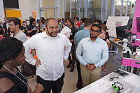 New York, NY, USA - June 28, 2017: BioBus and friends attending the opening celebration for BioBase Harlem at Columbia's Zuckerman Institute 3227 Broadway at 129th Street, New York.