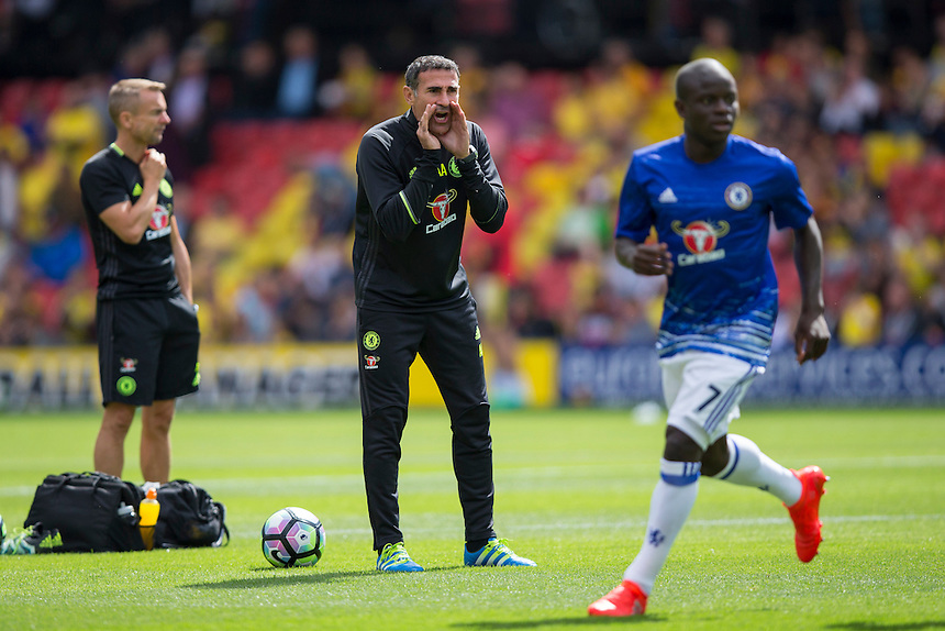 Angelo Alessio, Chelsea's Assistant First Team Coach, during the pre-match warm-up <br /> <br /> Photographer Craig Mercer/CameraSport<br /> <br /> Football - The Premier League - Watford v Chelsea - Saturday 20 August 2016 - Vicarage Road - Watford<br /> <br /> World Copyright &copy; 2016 CameraSport. All rights reserved. 43 Linden Ave. Countesthorpe. Leicester. England. LE8 5PG - Tel: +44 (0) 116 277 4147 - admin@camerasport.com - www.camerasport.com