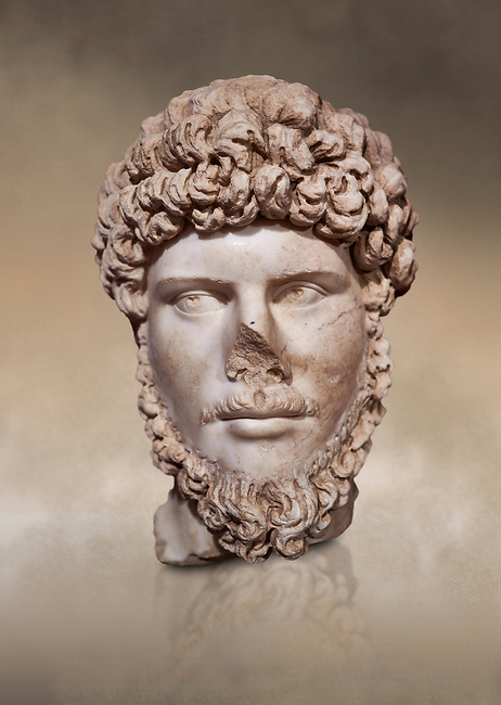 Roman statue of Emperor Lucius Verus .Marble. Perge. 2nd century AD. Inv no 2010/539 . Antalya Archaeology Museum; Turkey. Against a warm art background.