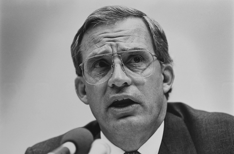 Close-up of Rep. Porter Goss, R-Fla., in February 1993. (Photo by Laura Patterson/CQ Roll Call via Getty Images)