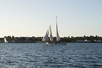 Sailing is a popular year-round hobby in Key West, with many opting to observe the sunset from the deck of a boat.