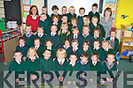 Junior Infants at Firies National School pictured with their teachers Michelle O'Connor and Eva Spillane during their first week in the school on Friday.........
