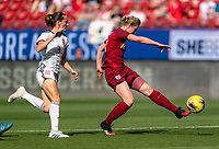 FRISCO, TX - MARCH 11: Ellen White #18 of England takes a shot during a game between England and Spain at Toyota Stadium on March 11, 2020 in Frisco, Texas.