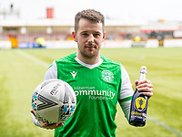 9th February 2020; Indodrill Stadium Alloa, Alloa Clackmannashire, Scotland; Scottish Cup Football, BSC Glasgow versus Hibernian; Marc McNulty of Hibernian with the man of the match Champagne and match ball after his hat trick