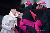 Pope Francis  during his weekly general audience in St. Peter square at the Vatican, Wednesday.April 13, 2016.