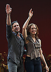 Raul Esparza & Jessica Phillips.during the Broadway Opening Night Curtain Call for the 'Leap Of Faith' at the St. James Theatre on 4/26/2012 in New York City.