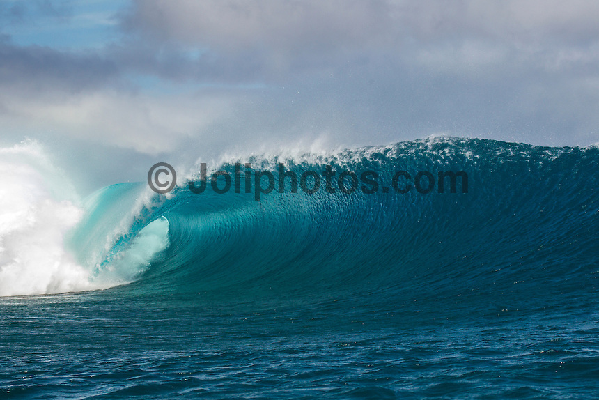 Namotu Island Resort, Fiji. (Monday, May 21, 2012) -  There were strong side shore trade winds  with a solid six to eight feet  of swell today. Cloudbreak was the pick of the spots with clean barreling waves. Namotu lefts and Restaurants also had waves. Photo: joliphotos.com