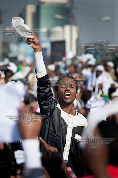 Protests in Meskel Square in Addis Ababa a the end of Ramadan, Eid Mubarak. Some Muslims use this celebration to display their disappointments with the national government.