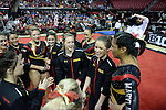 during the Terps' victory over the Ohio State Buckeyes in the first round of the Big Ten Tournament at Byrd Stadium on April 30, 2015.