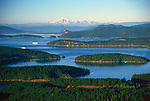 San Juan Island, WA<br /> Aerial  view of the San Juan Islands with Mount Baker on the horizon