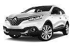Stock pictures of low aggressive front three quarter view of 2015 Renault Kadjar Bose Edition 5 Door Suv 2WD Low Aggressive