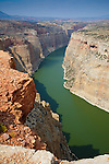The Bighorn River winds through rock canyon walls in montana