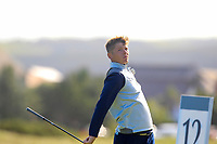 Kieran Cantley from Scotland on the 12th tee during Round 1 Foursomes of the Men's Home Internationals 2018 at Conwy Golf Club, Conwy, Wales on Wednesday 12th September 2018.<br /> Picture: Thos Caffrey / Golffile<br /> <br /> All photo usage must carry mandatory copyright credit (© Golffile | Thos Caffrey)