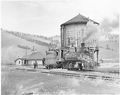 D&amp;RGW #268 taking water at Sargent.<br /> D&amp;RGW  Sargent, CO  1955