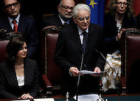 Il nuovo Presidente della Repubblica Sergio Mattarella tiene il giuramento durante una cerimonia alla Camera dei Deputati, Roma, 3 febbraio 2015.<br /> Italian newly elected President Sergio Mattarella attends the swearing ceremony at the Lower Chamber in Rome, 3 February 2015.<br /> UPDATE IMAGES PRESS/Isabella Bonotto