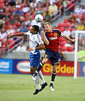 Pablo Campos and Nat Borchers in the San Jose Earthquakes @ Real Salt Lake 1-1 draw at Rio Tinto Stadium in Sandy, Utah on July 03, 2009