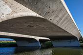 The Los Angeles River under Burbank Boulevard, Sepulveda Basin Recreation Area, Los Angeles, California, USA