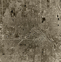 historical aerial photograph Denver, Colorado, 1970