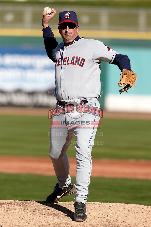 Former major league pitcher Dave Burba pitches in the campers vs pros game at the Cleveland Indians Fantasy Camp at Goodyear Stadium on January 19, 2012 in Goodyear, Arizona.  (Mike Janes/Four Seam Images)
