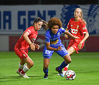 20190823 – OOSTAKKER, BELGIUM : Gent's Kassandra Missipo (R) and Standard's Constance Brackman (L) pictured during a women soccer game between AA Gent Ladies and Standard Femina de Liege on the first matchday of the Belgian Superleague season 2019-2020 , the Belgian women's football  top division , friday 23 th August 2019 at the PGB Stadium Oostakker in Gent  , Belgium  .  PHOTO SPORTPIX.BE | DIRK VUYLSTEKE