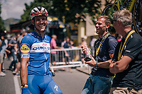 Philippe Gilbert (BEL/Quick Step floors) meeting up with his old pall (now commentator) Thor Hushovd pre-race<br /> <br /> Stage 15: Millau &gt; Carcassonne (181km)<br /> <br /> 105th Tour de France 2018<br /> &copy;kramon