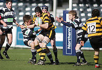 R.B.A.I. second row Mark McDowell fights for possession during the Northern Bank Schools Cup Final at Ravenhill. Result Wallace 0pts R.B.A.I. 15pts.