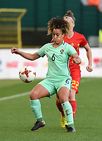 20180406 - LEUVEN , BELGIUM : Portugese Andreia Norton   pictured during the female soccer game between the Belgian Red Flames and Portugal , the fourth game in the qualificaton for the World Championship qualification round in group 6 for France 2019, Friday 6 th April 2018 at OHL Stadion Den Dreef in Leuven , Belgium. PHOTO SPORTPIX.BE | DIRK VUYLSTEKE