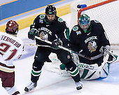 Benn Ferriero (Boston College - Essex, MA), Zach Jones (University of North Dakota - Lisle, IL), Philippe Lamoureux (University of North Dakota - Grand Forks, ND) - The Boston College Eagles defeated the University of North Dakota Fighting Sioux 6-4 in their 2007 Frozen Four semi-final on Thursday, April 5, 2007, at the Scottrade Center in St. Louis, Missouri.