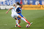 CHESTER, PA - MARCH 01: Rachel Daly (ENG) (left) and Eve Perisset (FRA) (right). The England Women's National Team played the France Women's National Team as part of the She Believes Cup on March, 1, 2017, at Talen Engery Stadium in Chester, PA. The France won the game 2-1.