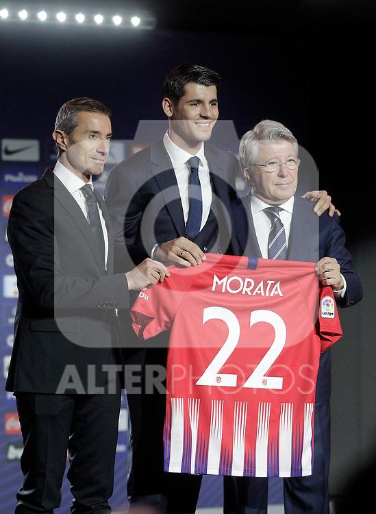 Alvaro Morata during the official presentation as a new Atletico de Madrid football club player at Estadio Metropolitano, Spain. January 29, 2019. (ALTERPHOTOS/Alconada)