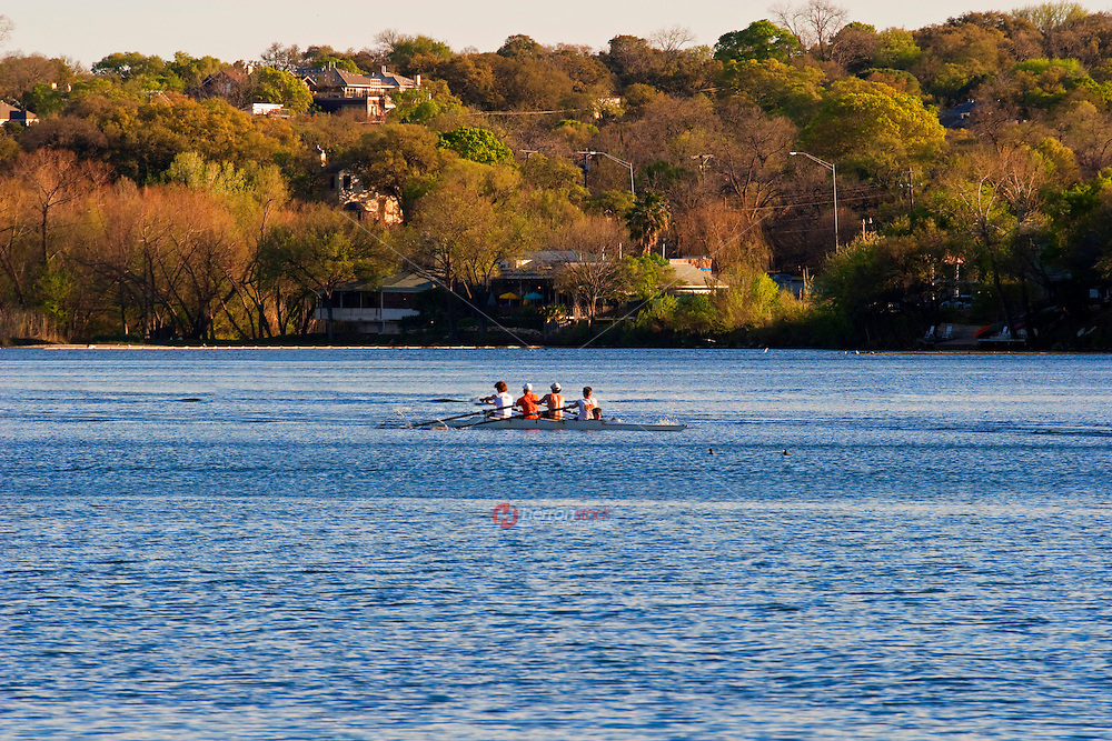 Rowing team trains on the gentle waters of Lake Austin