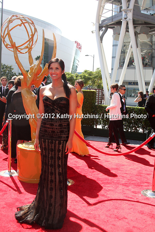 LOS ANGELES - SEP 15:  Padma Lakshmi arrives at the  Primetime Creative Emmys 2012 at Nokia Theater on September 15, 2012 in Los Angeles, CA