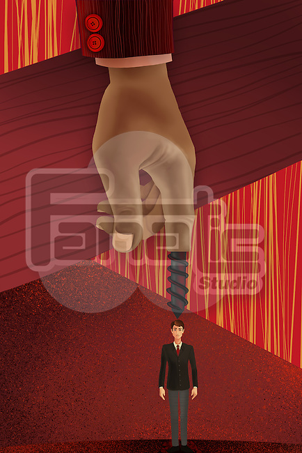 Illustrative image of hand screwing small businessman