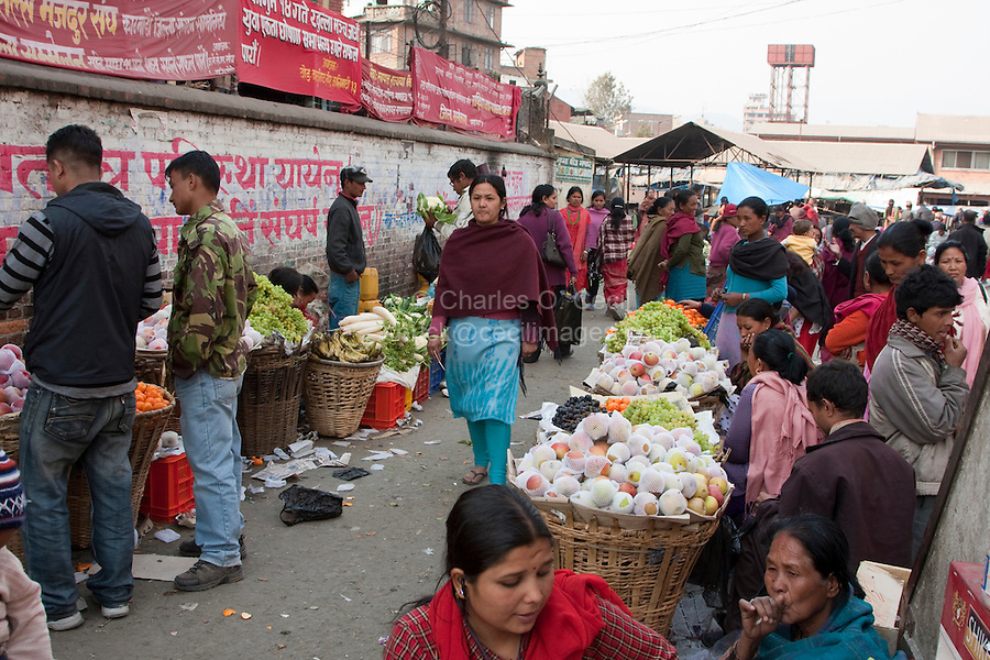 Kathmandu, Nepal.  Neighborhood Fruit and Vegetable Market.
