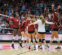 STANFORD, CA - September 9, 2018: Tami Alade, Meghan McClure, Audriana FitzmorrisMorgan Hentz, Jenna GrayKathryn Plummer at Maples Pavilion. The Stanford Cardinal defeated #1 ranked Minnesota 3-1 in the Big Ten / PAC-12 Challenge.