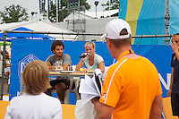 19-06-13, Netherlands, Rosmalen,  Autotron, Tennis, Topshelf Open 2013,  KNLTB Plaza, kids press conference with Jean-Julien Roijer and Richel Hogenkamp<br /> Photo: Henk Koster