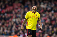Watford's Troy Deeney reacts <br /> <br /> Photographer Craig Mercer/CameraSport<br /> <br /> The Premier League - Sunday 11th March 2018 - Arsenal v Watford - The Emirates - London<br /> <br /> World Copyright &copy; 2018 CameraSport. All rights reserved. 43 Linden Ave. Countesthorpe. Leicester. England. LE8 5PG - Tel: +44 (0) 116 277 4147 - admin@camerasport.com - www.camerasport.com