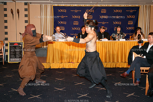 Members of the Iga Ninja group ASHURA perform at the Foreign Correspondent's Club of Japan (FCCJ) on February 22, 2017, Tokyo, Japan. The ninja group from Mie Prefecture gave an authentic demonstration of their ninja skills as part of the Ninja Nippon Project which aims to revitalize Mie's economy by attracting local and international tourism through the ninja culture. The project is supported by the Japan National Tourist Organization and includes plans to open a Ninja Academy and a Ninja Museum in 2018 in the lead-up to the 2019 Rugby World Cup and the 2020 Tokyo Olympic Games. In Japan February 22 (2/22) is also known as Ninja Day as the Japanese word for two is pronounced Ni. (Photo by Rodrigo Reyes Marin/AFLO)