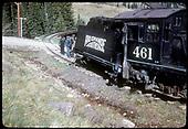RGS #461 K-27 derailed while crossing road just past Meadow Creek trestle.<br /> RGS  Meadow Creek, CO  Taken by Kindig, Richard H. - 6/5/1951