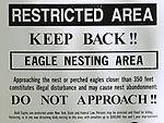 Sign designating an Eagle Nesting Zone at the Reservoir at the Ashokan Reservoir area near Olivebridge, NY, on Friday, May 12, 2017.. Photo by Jim Peppler. Copyright Jim Peppler/2017.