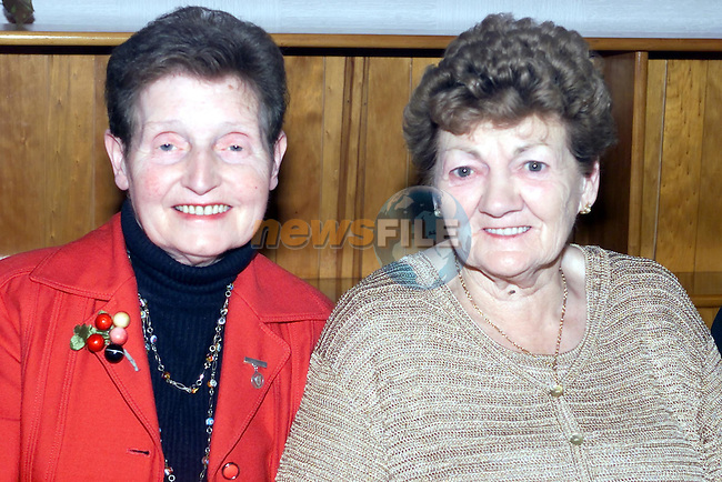 Julia Callaghan and Alacoque Everitt at the Lourdes Pensioners Party..Picture Fran Caffrey Newsfile.