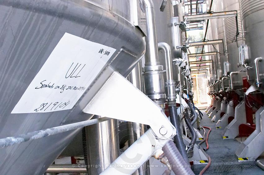 Stainless steel fermentation tanks. Ull de Llebre tempranillo must. Fermentation tanks. Raimat Costers del Segre Catalonia Spain