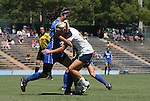 28 August 2011: Duke's Gilda Doria (left) and Notre Dame's Kecia Morway (right). The Duke University Blue Devils defeated the Fighting Irish of Notre Dame 3-1 at Fetzer Field in Chapel Hill, North Carolina in an NCAA Women's Soccer game.