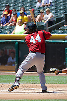 Sean Halton (44) of the Nashville Sounds at bat against the Salt Lake Bees in Pacific Coast League action at Smith's Ballpark on June 22, 2014 in Salt Lake City, Utah.  (Stephen Smith/Four Seam Images)