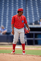 Clearwater Threshers starting pitcher Sixto Sanchez (45) looks in for the sign during a game against the Tampa Tarpons on April 22, 2018 at George M. Steinbrenner Field in Tampa, Florida.  Clearwater defeated Tampa 2-1 (Mike Janes/Four Seam Images)
