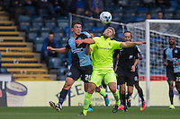 Luke O'Nien of Wycombe Wanderers and Nicky Featherstone of Hartlepool United battle for the ball during the Sky Bet League 2 match between Wycombe Wanderers and Hartlepool United at Adams Park, High Wycombe, England on 5 September 2015. Photo by Andy Rowland.