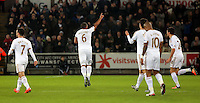 Ashley Williams celebrating his goal during the Barclays Premier League match between Swansea City and Watford at the Liberty Stadium, Swansea on January 18 2016