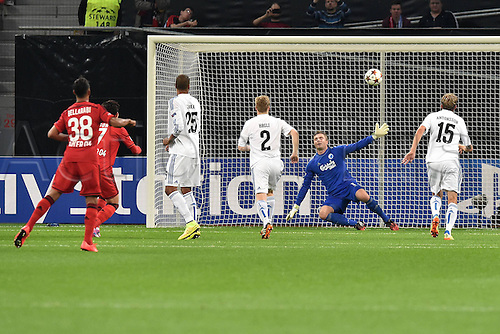 27.08.2014. Leverkusen, Germany. UEFA Champions League qualification match. Bayer Leverkusen versus FC Copenhagen. Goal scored for 2:0 from Hakan Calhanoglu ( Leverkusen )